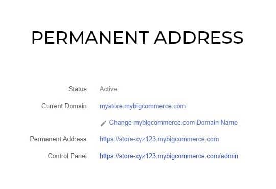BigCommerce ePermanent Address